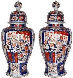 A Pair of 19th Century Imari Porcelain Covered Jars