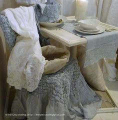 Vintage Italian Linens Blue and White Tabletop | The Decorating Diva, LLC