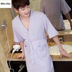 d581881a4d0e Hot Selling Men's 100% Cotton Suck Sweat Summer Bathrobe Men Kimono Sexy  Bath Robe Male