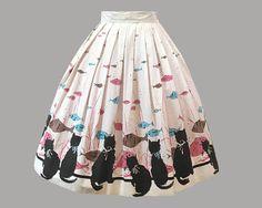 1950s Novelty Border Cat Print Cotton Skirt Vintage Skirt, Vintage Dresses, Vintage Outfits, Vintage Fabrics, Vintage Prints, 1950s Fashion, Vintage Fashion, Vintage Style, Fish Print
