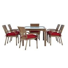 Martha Stewart Living Charlottetown Natural All-Weather Wicker 7-Piece Patio Dining Set with Quarry Red Cushions-65-55677 at The Home Depot