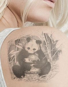Panda bear and cub tattoo design