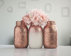 Glitter & Painted Mason Jar Centerpieces & by SprinkledandPainted