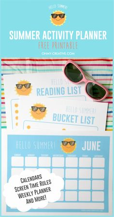 A fun Summer Activities For Kids Planner Printable that will help you keep all of your family's summer activities organized. | OHMY-CREATIVE.COM | Summer Printable | Calendar Printable | Summer Reading List Printable | Summer Bucket List Printable | Tech