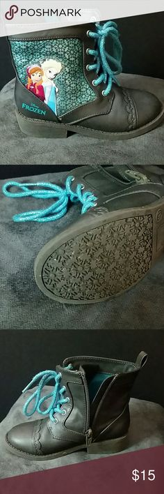 Disney Frozen zip-up boots Excellent condition!!! Worn once!  Frozen military style zip-up on the inside, side of the boots.  Very comfortable!!! Frozen-Sparkle blue, shoelaces.  Featuring both Anna and Elsa on the outside of each boot. Disney Shoes Boots