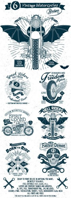 6 Vintage Motorcycles Badges #design #badges Download: http://graphicriver.net/item/6-vintage-motorcycles-badges/11530076?ref=ksioks
