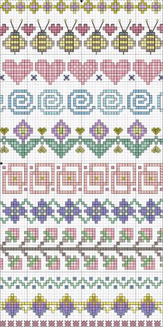 Valentine Freebie ~ Blue Eyed Bees Send Messages of Love Cross-stitch Borders. no color chart available, just use pattern chart as your color guide. or choose your own colors. Point de croix *m Cross stitch borders Cross Stitch Borders, Crochet Borders, Cross Stitch Samplers, Cross Stitch Charts, Cross Stitch Designs, Cross Stitching, Cross Stitch Embroidery, Embroidery Patterns, Cross Stitch Patterns