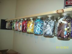 LOVE this idea~might have to try it in my new sewing room soon. **The Craft Donkey**: Mason Jar Shelf- Mission Organization