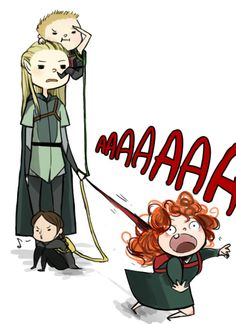 Legolas and the baby archers of 2012 (Katniss, Hawkeye, and Merida)