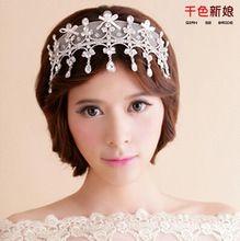 Envío gratis! lujo de encaje de flores de las borlas del Rhinestone accesorio para el pelo novia Tiara de la corona de la boda accesorios QHG089(China (Mainland))