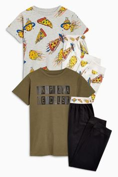 Green Pizza Pyjamas Two Pack (3-16yrs)