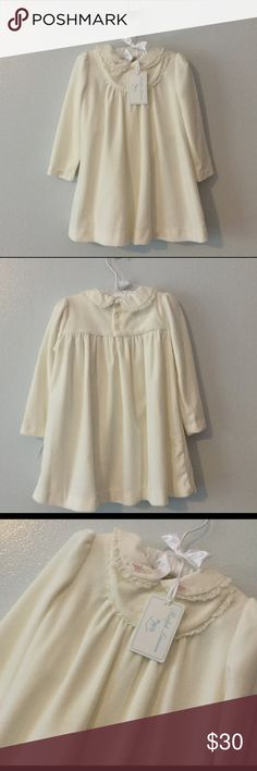 NWT Ralph Lauren baby girl dress Antique cream color. 80% Pima cotton/20% polyester soft velour. Also has separate cotton bloomers. Ralph Lauren Dresses Formal