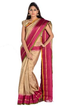 #Kalanjali brings you the #exclusive #collection of vibrant #Gadwal silk #Saree's with intricately woven #borders in #traditional #golden #motifs.