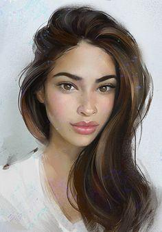 Aleksei Vinogradov {figurative art beautiful female head woman face portrait digital painting} http://avvert.blogstpot.ru