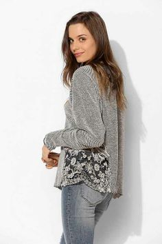 577f734661d3b Staring At Stars Distressed Lace-Inset Pullover Sweatshirt - Urban  Outfitters Lace Inset