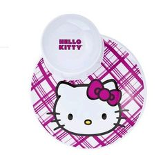 """Set of 4 Hello Kitty Plates with Attached Bowl by Zak. $26.99. Dimensions: 11.0 """" L x 9.25 """" W x 1.25 """" H. Melamine. Top rack dishwasher safe. Four plates. Any Hello Kitty fan would love sharing a meal on this great plate!  Attached bowl keeps item separate from the plate--ideal for salad, vegetables, or soup!"""