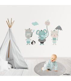 Vinilo infantil estilo nórdico animales playa Patchwork Baby, Kids Rugs, Painting, Design, Home Decor, Tela, Paper, Kid Bedrooms, Kid Games