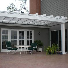 The pergola kits are the easiest and quickest way to build a garden pergola. There are lots of do it yourself pergola kits available to you so that anyone could easily put them together to construct a new structure at their backyard. White Pergola, Deck With Pergola, Cheap Pergola, Outdoor Pergola, Covered Pergola, Backyard Pergola, Pergola Plans, Outdoor Decor, Pergola Ideas