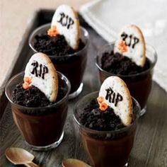 Dark Chocolate Graveyard Pots de Creme with Tombstone Cookies