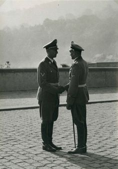 Reichsprotektor Reinhard Heydrich welcomes his second Karl Hermann Frank Karl Hermann Frank, German Soldiers Ww2, War Machine, World War Two, Wwii, Germany, Military, Prague, Axis Powers