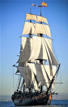 Sail on a 3 mast sailing ship. This is the HMS Surprise out of San Diego, CA Moby Dick, Sailboat Yacht, Old Sailing Ships, Full Sail, Ship Of The Line, Wooden Ship, Sail Away, Ship Art, Tall Ships