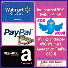 WOO HOO!! Mom Does Reviews is so excited to share this news with everyone!  She has reached 40,000 Twitter fans!  To celebrate, let's do a GIVEAWAY! One lucky winner will win $40 Amazon GC, Walmart GC or Paypal CASH!! Which would you...