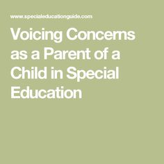 Voicing Concerns as a Parent of a Child in Special Education