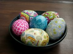 Fabric Covered Easter Eggs.  All you need is fabric scraps, plastic eggs, and ModPodge