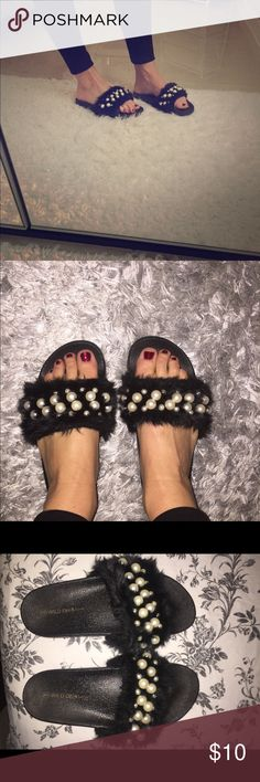 Furry pearl slides Furry pearl slides, sz 8, fit is snug. Shoes Sandals