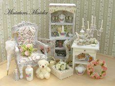 Miniature Dollhouse Shabby Chic Room  Kit , Set Scale 1:12