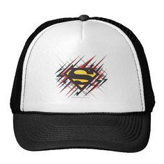 Superman Stylized | Black and Red Strikes Logo. Producto disponible en tienda Zazzle. Accesorios, moda. Product available in Zazzle store. Fashion Accessories. Regalos, Gifts. #gorra #hat #heroe #hero #american