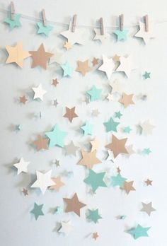 Mint Shimmer Gold and Ivory Stars Paper by SassyPantsNebraska