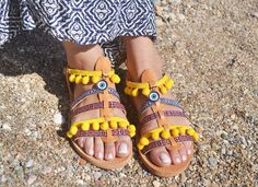 leather greek sandals summer sandals boho by SunDeiAccessories