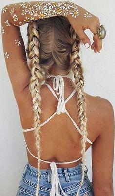 braids. cross back. vintage denim #cutoffs.