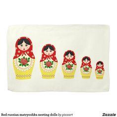 Red russian matryoshka nesting dolls towels