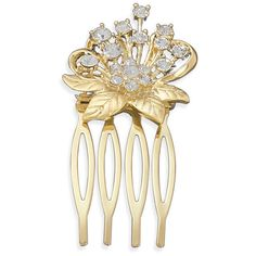 14 karat gold plated crystal flower fashion hair comb (£23) ❤ liked on Polyvore featuring accessories, hair accessories, hair, long hair combs, flower hair accessories, crystal hair comb, hair comb accessories and long comb