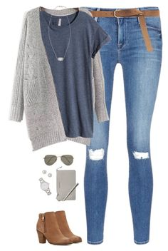 """""""Gray chunky cardigan, blue tee & ripped jeans"""" by steffiestaffie ❤ liked on Polyvore featuring Frame Denim, H&M, Givenchy, ALDO, SELECTED, Kate Spade, MICHAEL Michael Kors and Kendra Scott"""