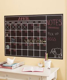 I loved this idea and used chalk board paint and painted this calendar on my kitchen wall... love it its the best thing ever