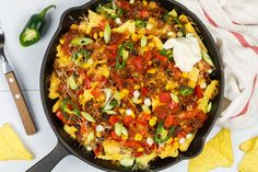 Mexicaanse nacho ovenschotel met gehakt I Love Food, Good Food, Yummy Food, Diner Recipes, Cooking Recipes, Nachos, One Dish Dinners, Oven Dishes, Pasta