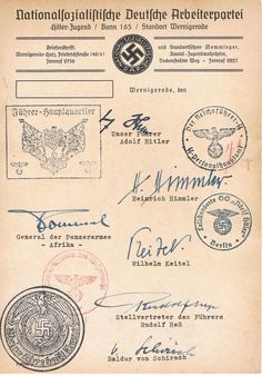 A Hitler Youth document from Wernigerode purportedly bearing the signatures of several high Nazi Party and Army personalities, and their personal authorization stamps: Hitler, Himmler Rommel, Keitel, Heß, and von Schirach. I'm dubious.