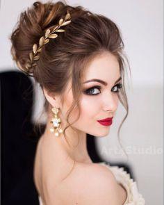 wedding hairstyles half up half down; wedding hairstyles for long hair; Wedding Hair And Makeup, Bridal Makeup, Hair Makeup, Bridal Updo, Wedding Updo, Bridal Hair Buns, Makeup Shop, Wedding Dress, Bride Hairstyles