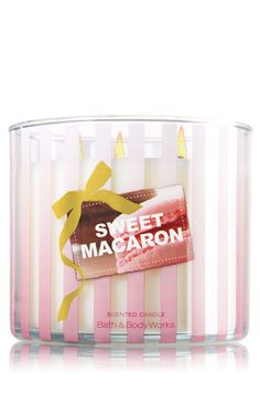 Sweet Macaron 14.5 oz. 3-Wick Candle - Slatkin & Co. - Bath & Body Works    Inspired by a classic treat, this irresistible scent is a fragrant mosaic of French cookie raspberry jam, almond extract, vanilla cream and light lemon.