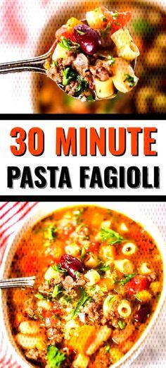 #30minuterecipe #itisakeeper #satisfying #copycat #minutes #italian #peasant #fagioli #freezer #ga... Italian Soup Recipes, Fagioli Soup, 30 Minute Meals, Copycat, Chili, Curry, Pasta, Freezer, Ethnic Recipes