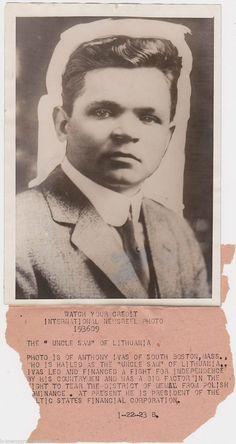 ONY IVAS LITHUANIAN UNCLE SAM BOSTON MASSACHUSETTS ANTIQUE 1920s PRESS PHOTO