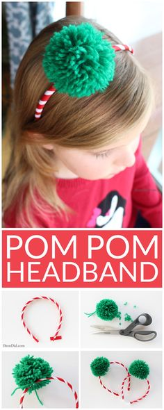 Learn how to make a Pom Pom Headband. Easy craft tutorial. These fun and trendy pom pom headbands are an adorable addition to any outfit and cost less than $2.2