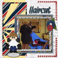 A picture of my son getting his hair cut.  Template by LissyKay Designs.  Kit: Wimpychompers' A Cut And A Shave available at http://store.gingerscraps.net/A-cut-and-shave.html