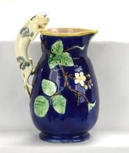 Majolica cobalt cat handled blackberry pitcher, 10