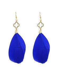 Ohrringe mit Feder Anhänger-blau