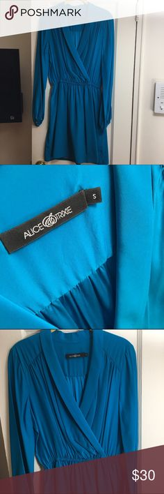 Alice and Trixie Silk Teal blue cocktail Dress 👗 Never worn. Purchased at a sample sale. 100% Silk. Open to offers. Pet free and smoke free home. Alice and Trixie dress (listed under closest brand name for exposure) Alice + Olivia Dresses Long Sleeve