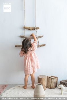 Bring the outdoors inside!  Add wooden elements to your kids bedroom so they can experience nature while staying safe.  Featured here is our ivory washable cotton rug and natural mushroom baskets!  #letkidsplay Washable Area Rugs, Machine Washable Rugs, Lorena Canals, Blue Cushions, Kids Bedroom, Mushroom, Baskets, Ivory, Outdoors